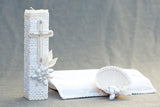 White Baptism Candle kit with handsewn cross