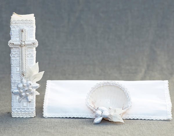 White handmade Christening Candle kit #6