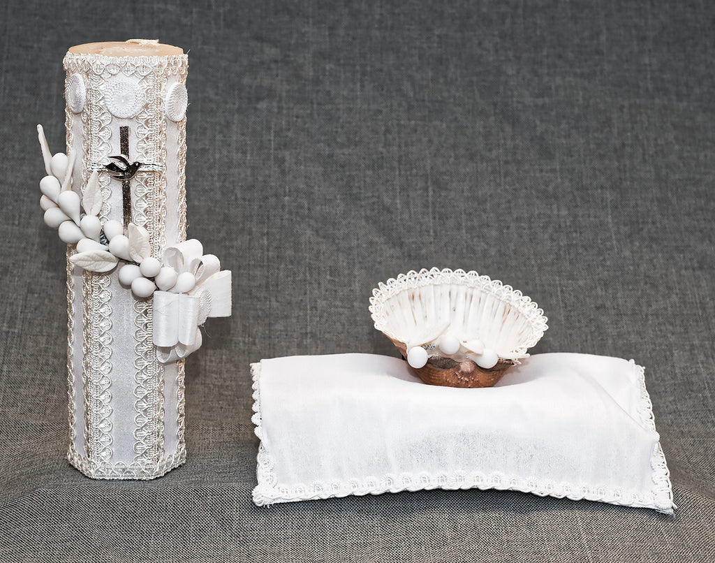 Handcrafted white Christening candle kit #10