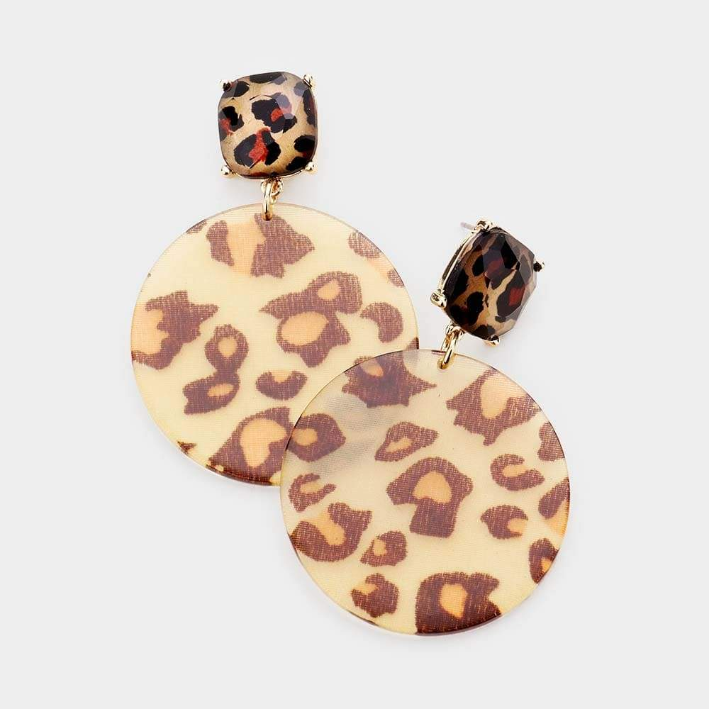 Animal Print Round Earrings - Charmingly Unique Boutique