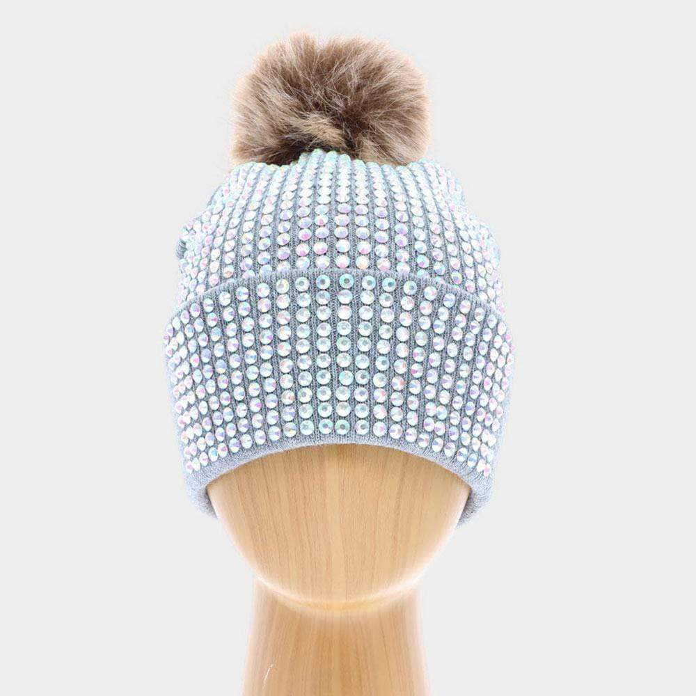 Bedazzled Pom Pom Beanie - Charmingly Unique Boutique