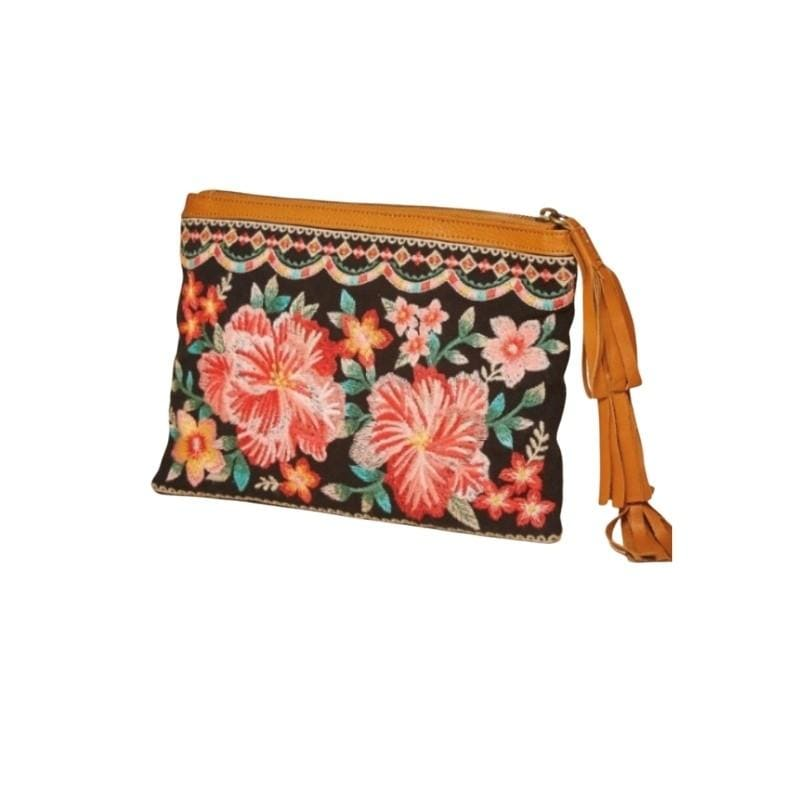 Hibiscus Embroidered Clutch - Charmingly Unique Boutique
