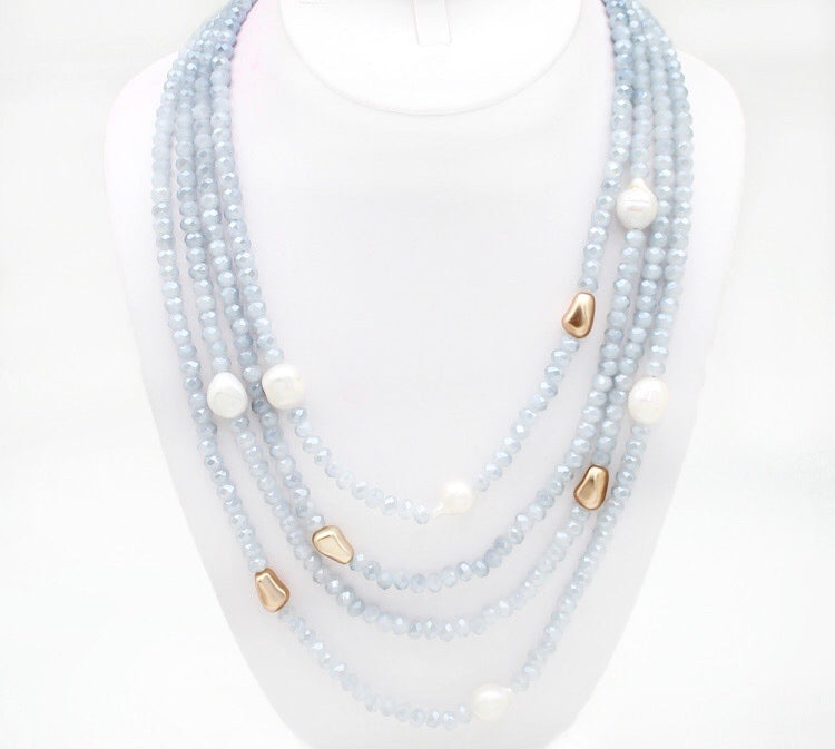 Layered Crystal Bead Necklace - Charmingly Unique Boutique