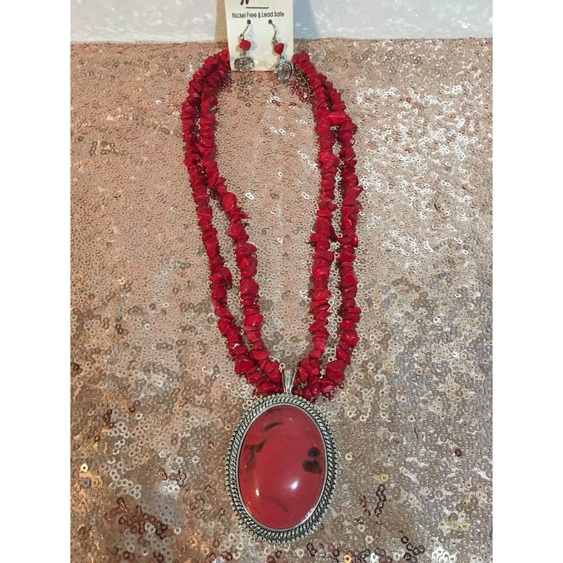Oval Red and Silver Pendant Necklace - Charmingly Unique Boutique