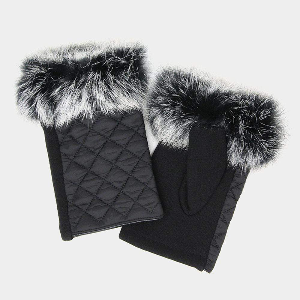 Quilted Fingerless Fur Gloves - Charmingly Unique Boutique