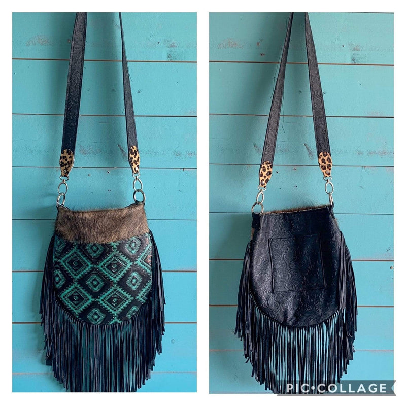 Turquoise Embossed Fringe Purse - Charmingly Unique Boutique