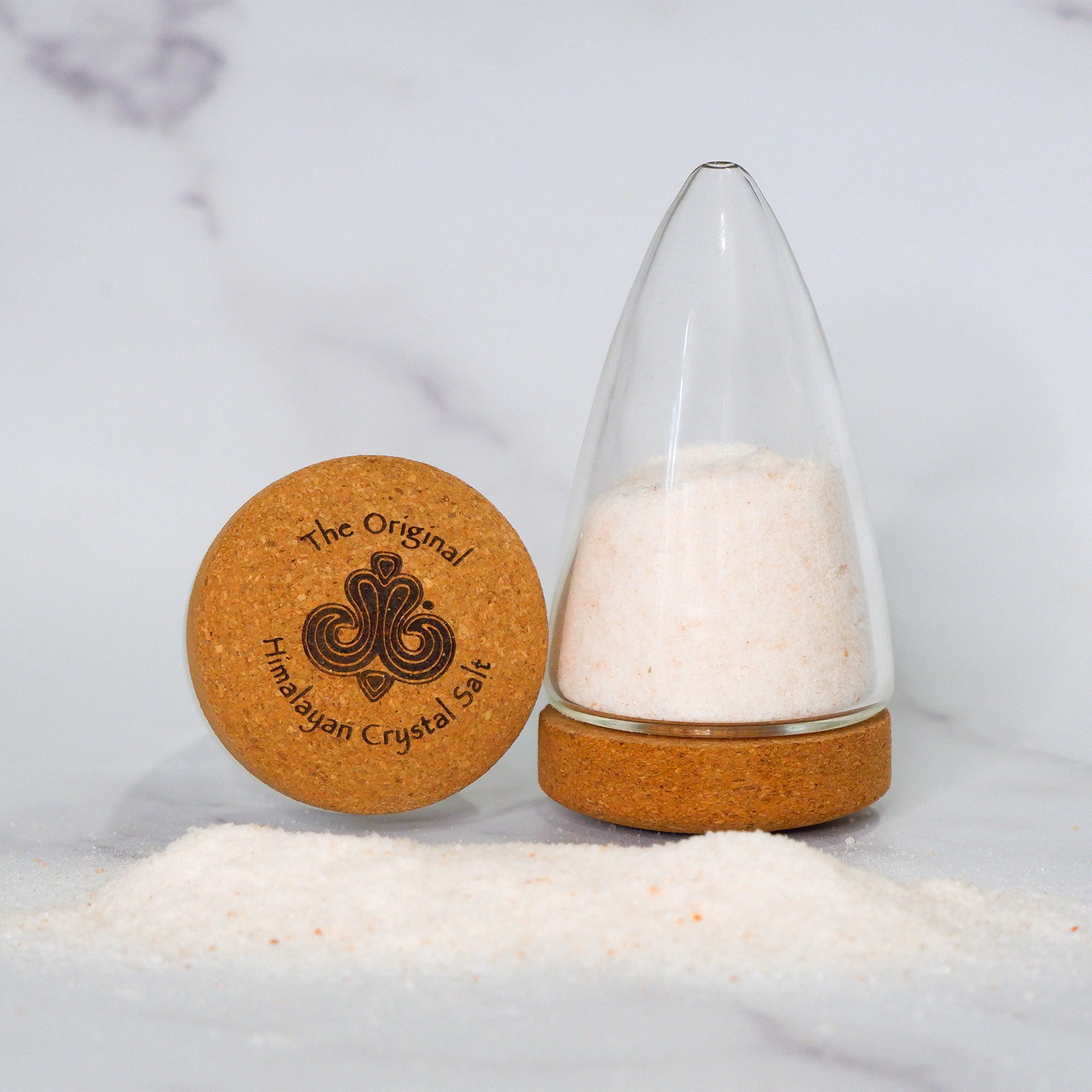 Glass salt shaker with cork lid Original Himalayan Crystal Salt