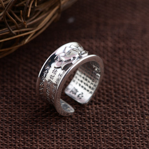 Buddhistic Sutra Ring 925 Silver