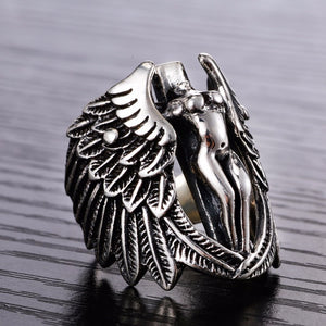 925 Sterling Silver Angel Wings Ring