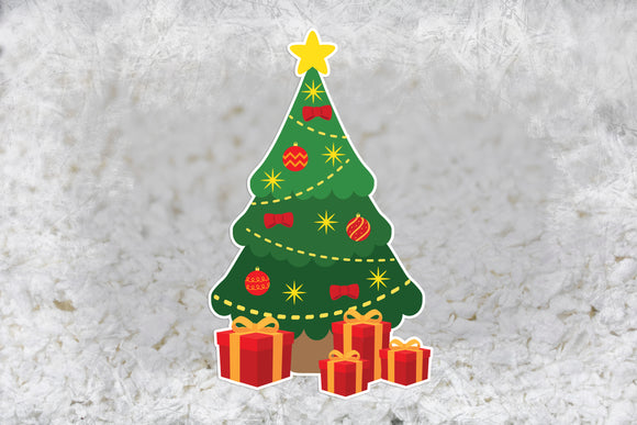 Furnishables Green Christmas Tree static cling sticker, for decorating and customising small pet cages and tanks for Christmas