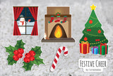 Furnishables Festive Cheer static cling sticker theme for decorating and customising small pet cages and tanks