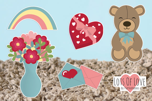 Furnishables Lots Of Love static cling sticker theme for decorating and customising cages and tanks for Valentines Day