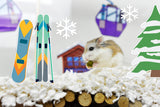 A hamster in a ski resort created with Furnishables Mountain Resort static cling sticker theme