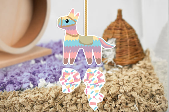 Furnishables Piñata static cling sticker for decorating and creating cage themes for small pets.