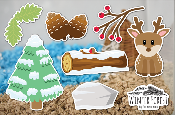 Winter Forest | Static Cling | Pet Cage Theme