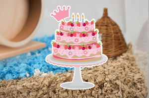 Furnishables birthday cake static cling sticker for decorating and creating cage themes for small pets.