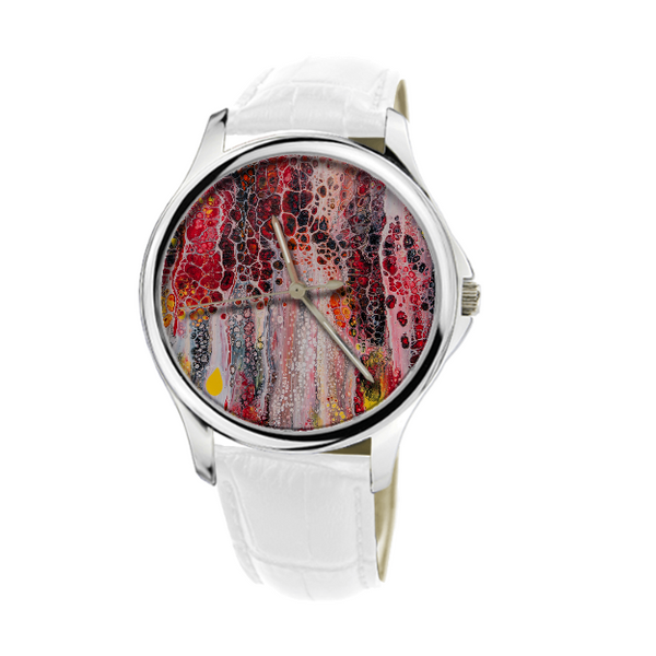 Painted Abstract Reds 30 Meters Waterproof Quartz Fashion Watch With White Genuine Leather Free Worldwide Shipping