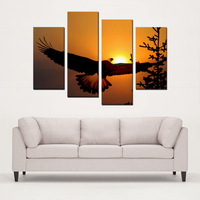 Alaska Eagle at Sunset 4 Panels Canvas Prints Wall Art Special Free Worldwide Shipping