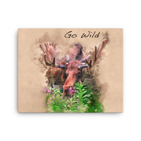 Moose Watercolor reproduced on Canvas
