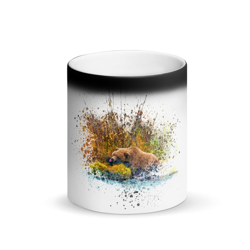 Brown Bear relaxing on Magic cup