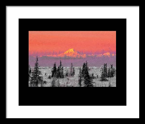 Mt. Redoubt wintertime - Framed Print
