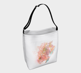 "carry tote with custom watercolor painting, ""Raspberry"""