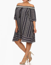 Off-shoulder Print Dress Plus Size