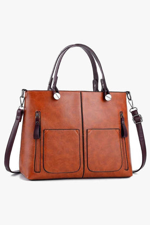 Brown tote satchel bag