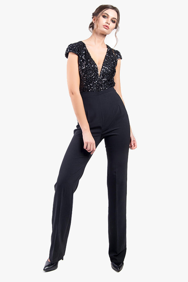 Aceline: Black Sequent Jumpsuit