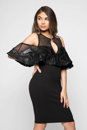 Black Cold-Shoulder Cocktail Dress
