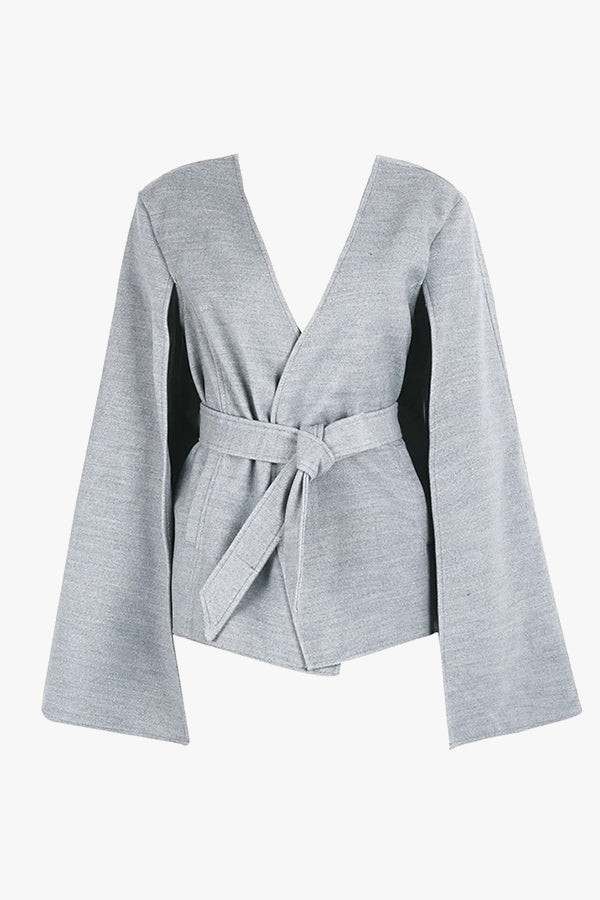 Grey wrap jacket with open sleeves.