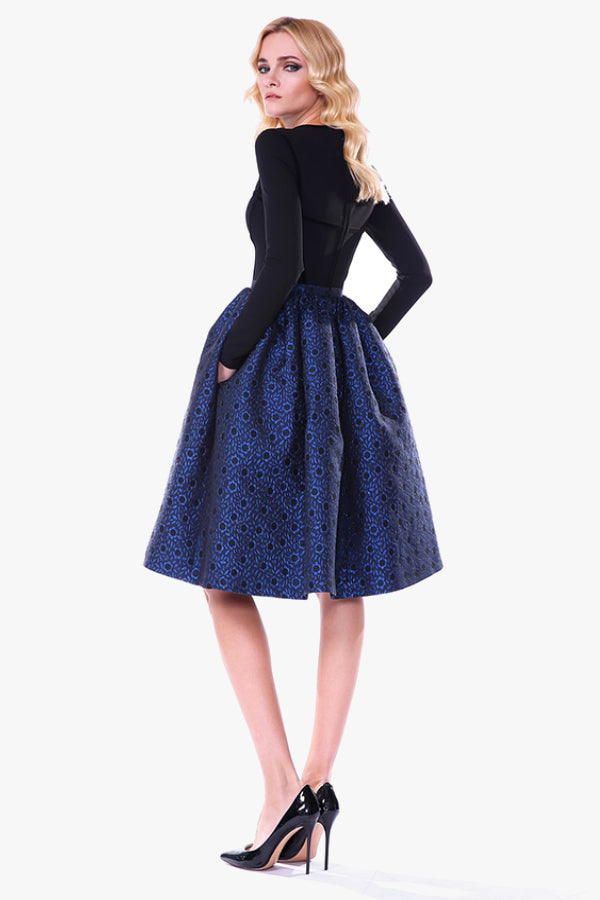 Ciari OGO: Black Long Sleeve Flared Patterned Blue dress