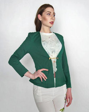 Luciana: Green Structured Jacket with Gold Chain