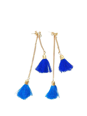 Blue Tassels Earrings