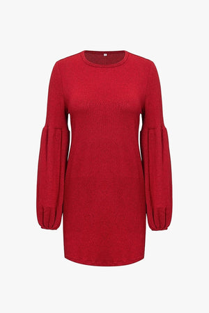 Structured Knit With Balloon Sleeve Dress
