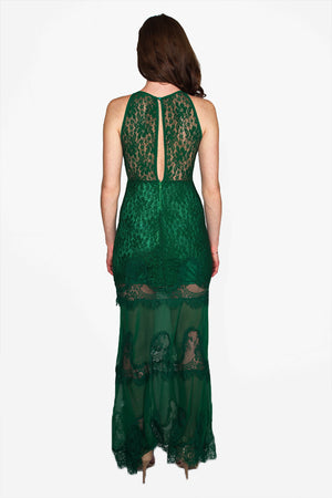 Vintage Queens: Green Lace Maxi Dress