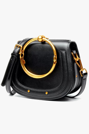 black crossbody with a metal handle