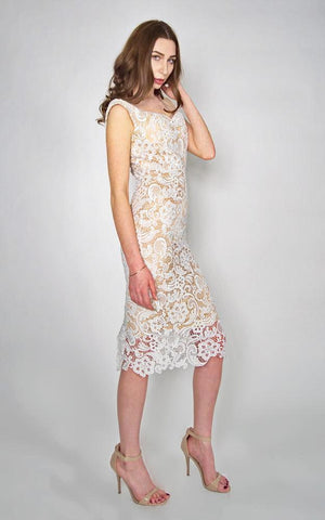 Yumi: White Vintage Lace Dress
