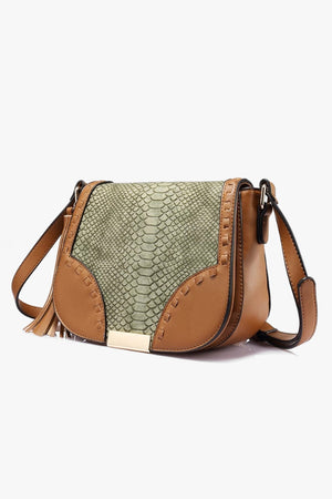 Saddle Crossbody Bag with Snakeskin Print