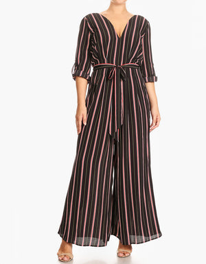 wide-leg striped plus size curvy jumpsuit with sleeves