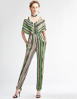 green, white, brown, and black striped V-neck and short sleeves jumpsuit
