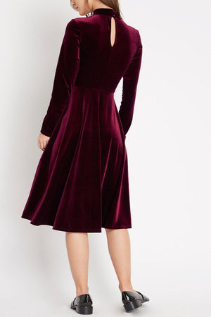 Susie: Red Velvet High Neck Dress