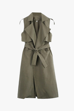 sleeveless trench is cut with sharp lapels