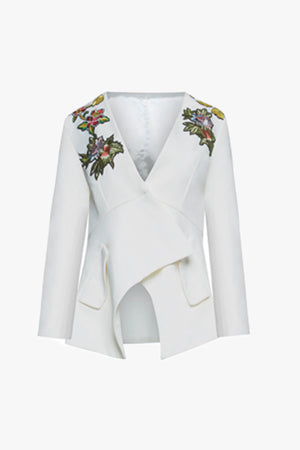 Ella: White Structured Blazer with Flower Detail