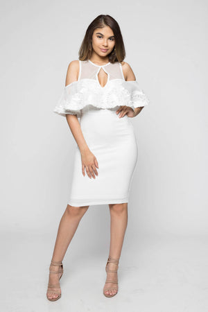 White Cold-Shoulder Cocktail Dress
