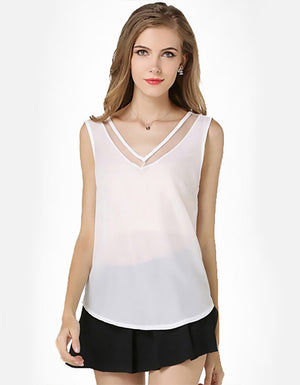 Whitney: White Sleeveless Blouse