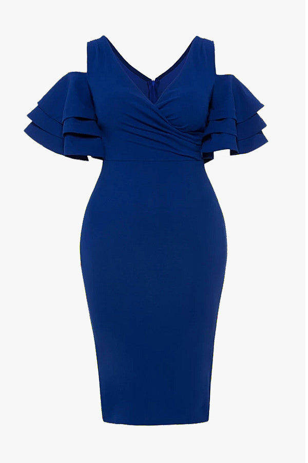 body-con dress with ruffle sleeves