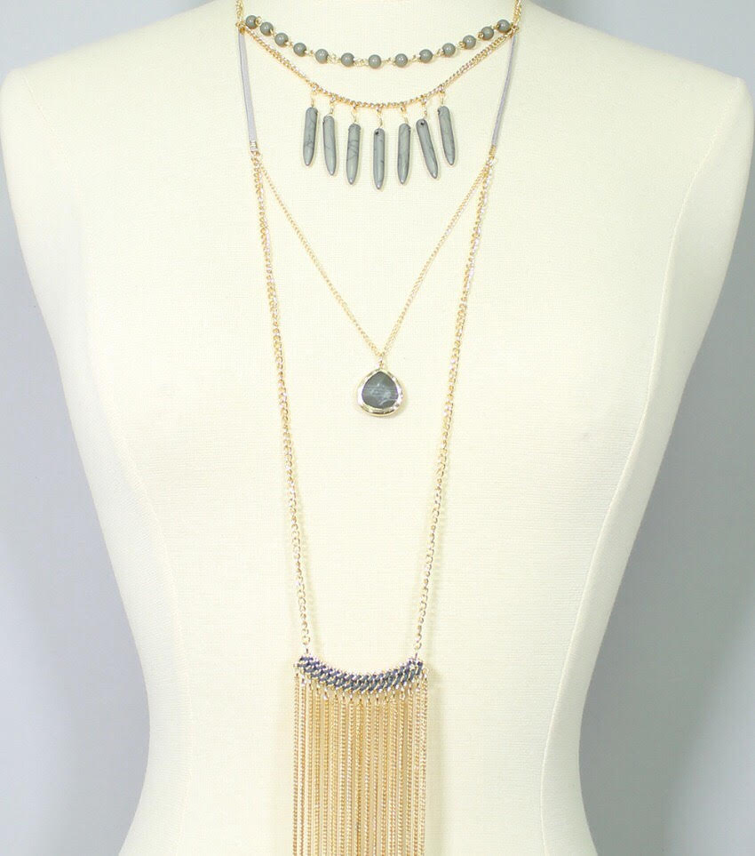 Boho: Layered Boho Fringe Pendant Necklace