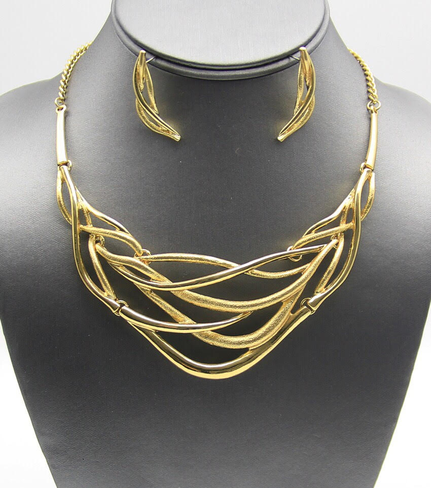 Cage: Geometric Woven Cage Metal Necklace Set