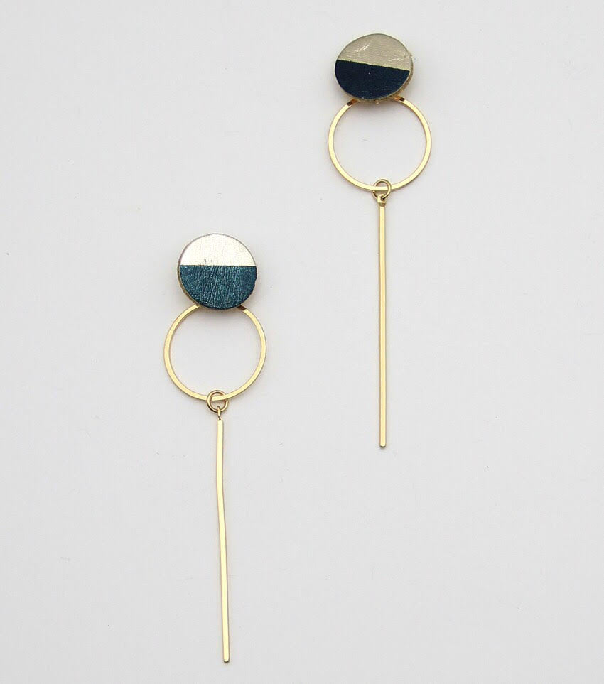 Droopy: Leather Post Metal Drop Earrings
